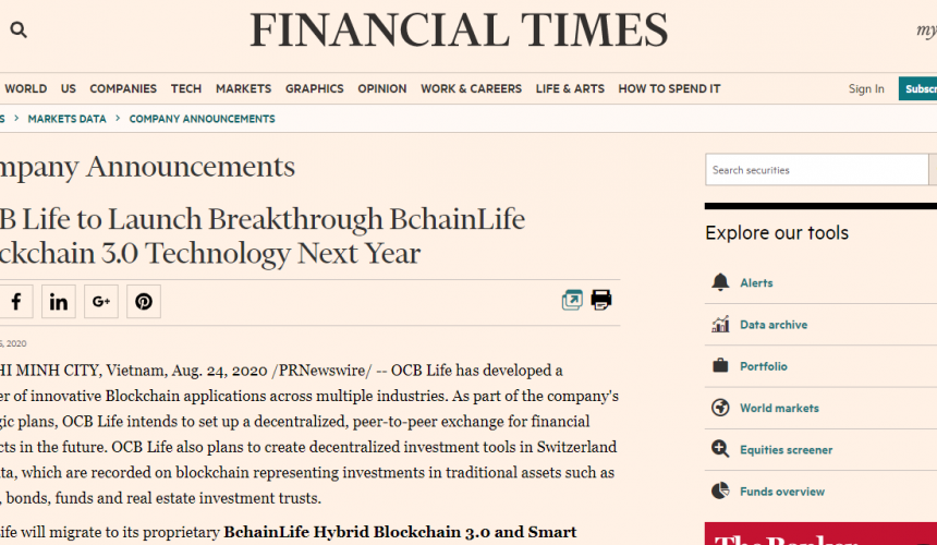 Financial Times: OCB Life to Launch Breakthrough BchainLife Blockchain 3.0 Technology Next Year